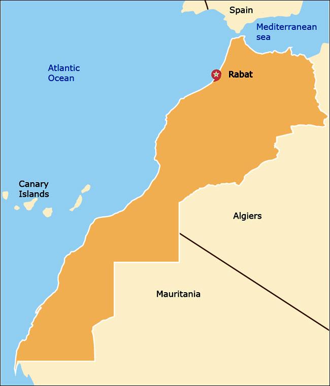 Mappa  del Regno del Marocco