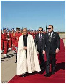2012 - Il Presidente della Repubblica della Tunisia con Sua Maestà il Re Mohammed VI, durante la sua visita nel Regno del Marocco.