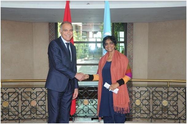Il Ministro degli Affari Esteri e della Cooperazione, il Sig. Salaheddine Mezouar ha incontrato, martedì 27 maggio 2014 a Rabat, l'Alto Commissario delle Nazioni Unite, Sig.ra Navi Pillay.