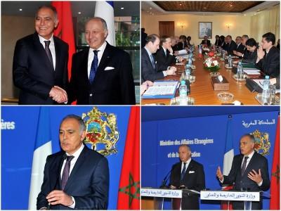 Il Ministro degli Affari Esteri e della Cooperazione, Salaheddine Mezouar con il Ministro il Ministro francese degli affari esteri e dello sviluppo internazionale, Laurent Fabius