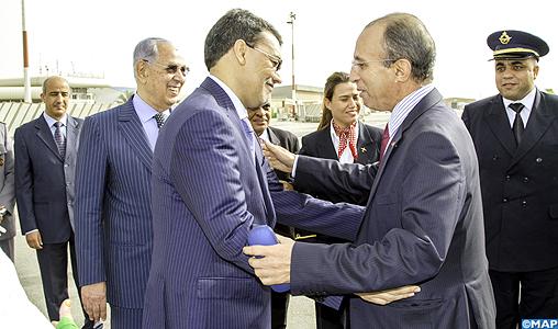 Il ministro degli Interni del Marocco, Mohamed Hassad durante il suo arrivo giovedì mattina a Nouakchott