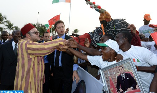 Calorosa accoglienza della Costa d'Avorio  all'arrivo di SM il Re Mohammed VI
