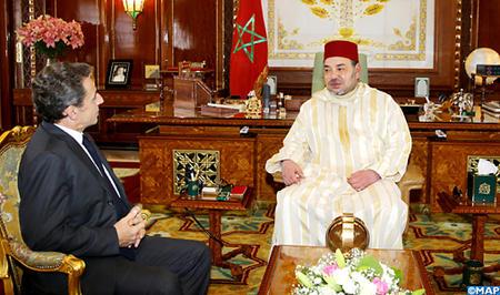 """SM il Re del Marocco Mohammed VI e il presidente del partito francese """"Les Républicains"""", Nicolas Sarkozy"""