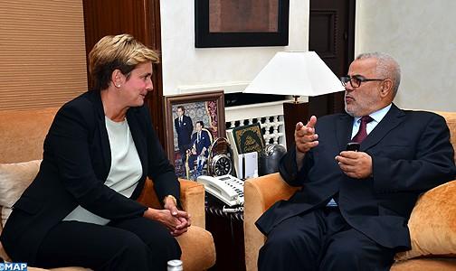 Il Capo del Governo marocchino, Abdelilah Benkirane con il Ministro dello Sviluppo economico italiano, Federica Guidi