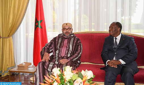 SM ul Re del Marocco e il Presidente  della Costa d'Avorio